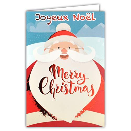 Afie Carte Joyeux Noël Merry Christmas Tête Père Noël Petit Papa Noël Chapeau Bonnet Pompon Moustache Barbe Flocons Neige Montagne Rouge Brillant