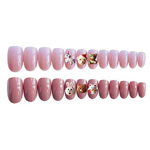 CLOAAE 24pcs Pink Cute Cartoon Animal Pattern Artificial Nail Medium Long Round Bear Rabbit Full Cover Acrylic Fake Nail With