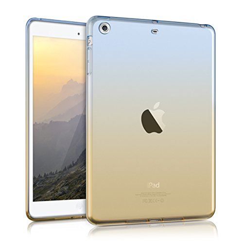 kwmobile Hülle kompatibel mit Apple iPad Mini 2 / iPad Mini 3 - Silikon Tablet Cover Hülle Schutzhülle - Zwei Farben Blau Gelb Transparent