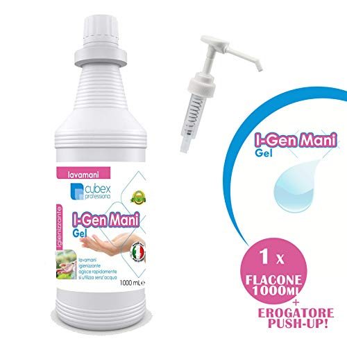CUBEX PROFESSIONAL I-GEN MANI gel igienizzante mani 1000ml ALCOOL AL >70%+ EROGATORE PUSH-UP