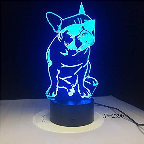 Lámpara de mesa 3D Bulldog francés para mascotas, cachorro, perro, gafas de sol, decoración, luz nocturna, decoración del hogar, cambio de color, luz nocturna 2390