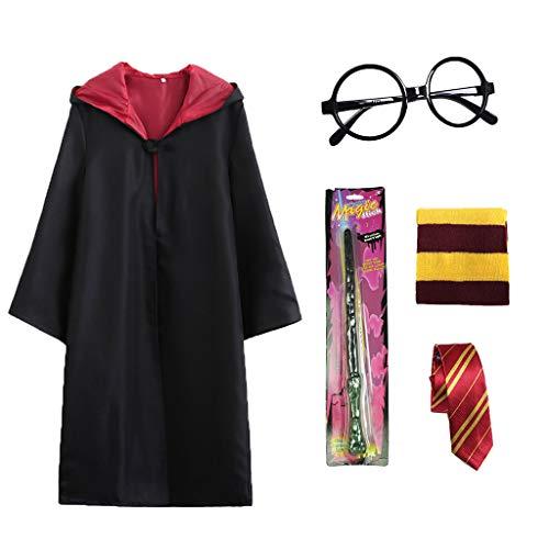 Formemory 5 Pcs Disfraz de Mago Cosplay para Niños Adultos, con Capa, Corbata, Gafas, Bufanda para la Fiesta de Mago Disfraz Carnaval Halloween (135)