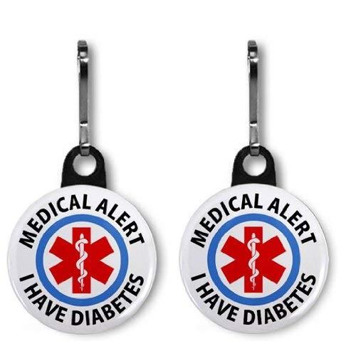 I Have Diabetes Medical Alert 2-Pack 1 inch Zipper Pulls