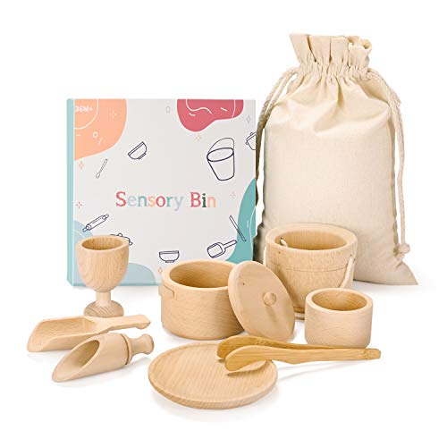 MONT PLEASANT Montessori Toys Sensory Bin Toys for 1 Year Old Toddlers Set of 9 Wooden Waldorf Toys Wooden Scoops and Tongs for Transfer Work and Fine Motor Skills Development
