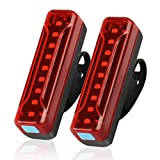 Ovetour USB Rechargeable Bike Tail Light 2 Pack,1200 mAh Large Capacity Lithium Battery can Work for 50 Hours,Ultra Bright LED Rear Bicycle Taillights,5 Light Mode Options