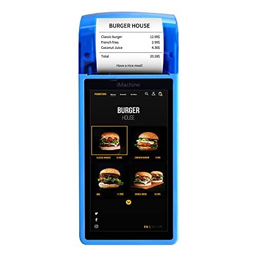 Aibecy Impresora de recibos POS de mano Android 7.0 PDA Terminal 1D / 2D / QR Escáner de código de barras 3G WiFi BT Comunicación con pantalla táctil de 5 pulgadas