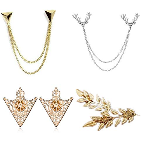 YouU 4 Stk Deer Head Double Gliederketten, Gold Stud, Retro Hollow Pattern and Angle Triangle Tassels Kragen Pins Brosche Clip Pin Broschen Hemdkragen Dekorationsteile mit Free Box