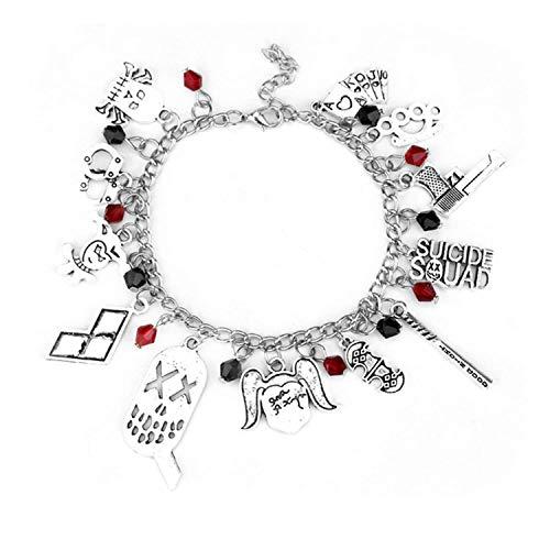 Suicide Squad inspired Bracelet Joker Harley Quinn Cartoon Portraits Bat Pendants Hand Chain