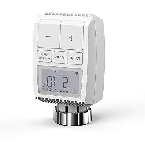 Termostato digital inteligente con pantalla LCD, termostato programable de 7 días con control de voz, control remoto de la aplicación Tuya ZigBee 3.0 Actuador radiador Soporte con pilas Control de voz