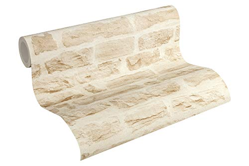 A.S. Création Vliestapete Best of Wood`n Stone 2nd Edition Tapete in Stein Optik fotorealistische Steintapete Naturstein 10,05 m x 0,53 m beige creme Made in Germany 355802 35580-2