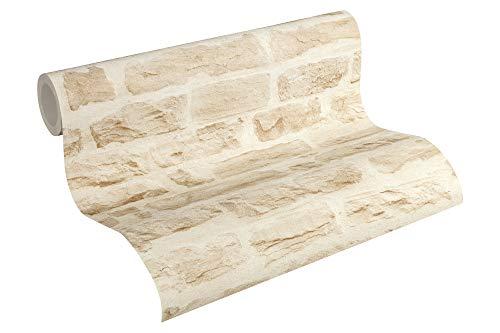 AS Création 355802 35580-2 Best of Wood'n Stone 2a edición Papel pintado no tejido con efecto piedra natural Beige crema 10,05 x 0,53 m