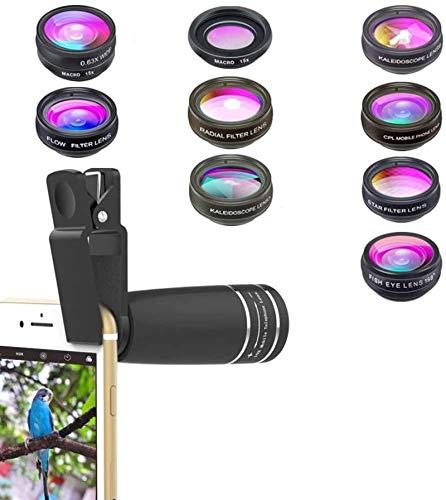 MWKLW Kit de Lentes de cámara de teléfono Universal 10 en 1, Lente telefoto con Zoom + Lente Ojo de pez + Lente Gran Angular y Macro + Filtro CPL/Flujo/Radial/Estrella + Lente caleidoscopio 3/6