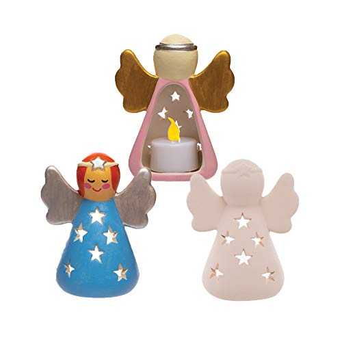Baker Ross Keramik Teelichthalter Engel (Box mit 3 Stück) Weihnachten Basteln für Kinder