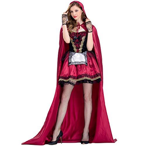 BIKETAFUWY Halloween Damen Kleid,Damen Cosplay Schal Rotkäppchen Kostüm Frauen 3 Stück Gothic Ärmellos Mini Kleid mit Kapuze Party Kostüm Hooded Kleid Cape Handschuhe Set