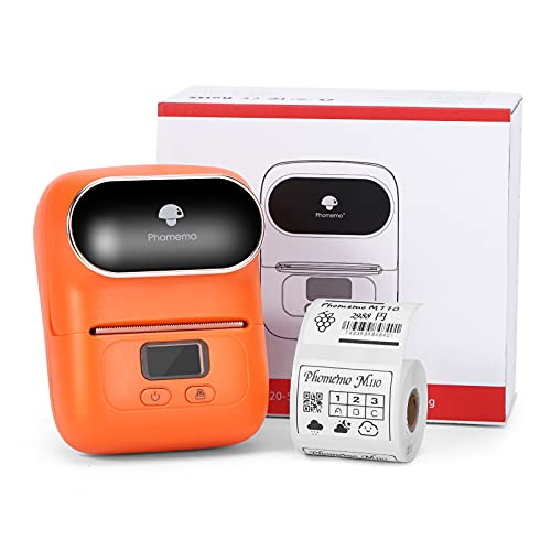 Phomemo M110 Bluetooth Imprimante d'étiquettes imprimante etiquette portable thermique,Taille d'impression 20mm-50mm, compatible avec Android & ios,Utilisé au bureau,code à barres,câble,magasin.Orange
