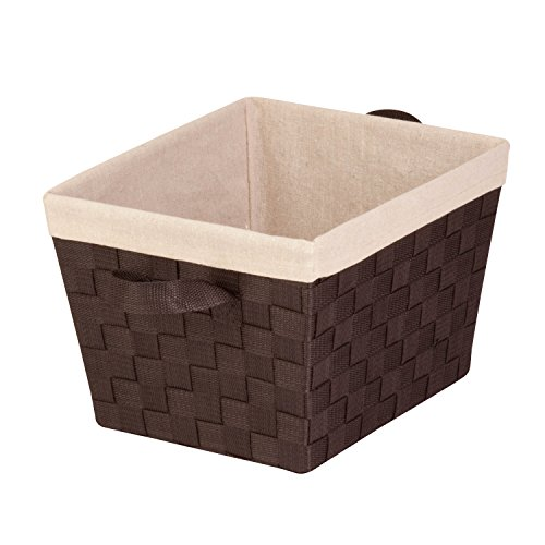 Honey-Can-Do STO-02985 Nested Woven Tote with Liner, Esspresso Brown, Small