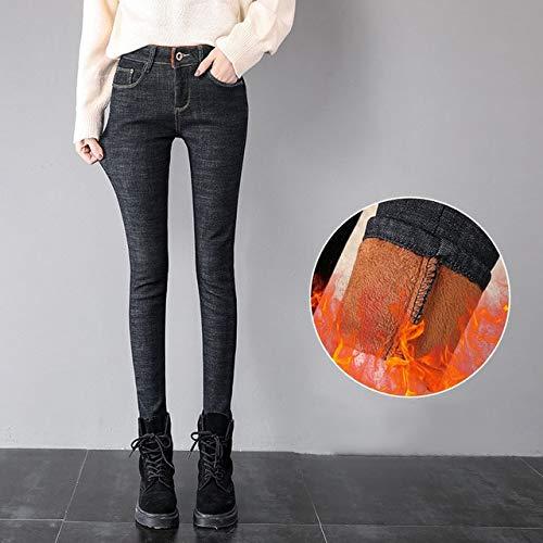 KXDNZK ZKKXDN winter hoge taille denim warme jeans boyfriend jeans voor vrouwen Plus Size recht Mom jeans stretch zwart buizenjeans vrouw