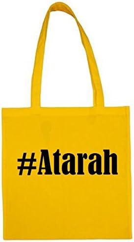 Tas Atarah grootte 38x42 kleur geel druk zwart
