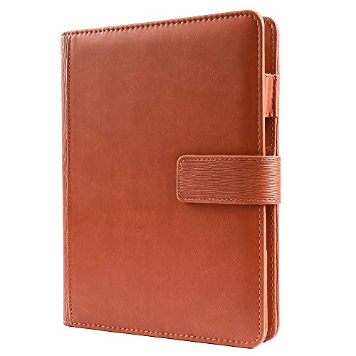 A5 Binder Journal Refillable 6 Round Ring Notebook Faux Leather Loose Leaf Binder Spiral Diary Agenda Magnetic Snap Closure Brown