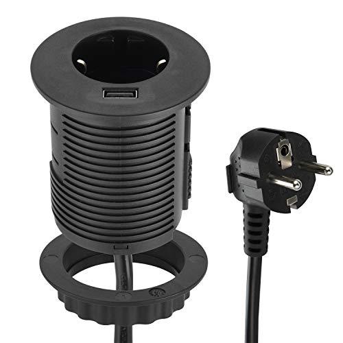 Energaline 62558 tafelblad Grommet inbouwstopcontact met USB Fast Charge 2.A & standaard kabeldoorvoer, Ø 60 mm (tafel inbouwstopcontact Schuko), kabel 2 m, zwart