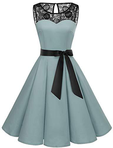 Bbonlinedress Abendkleider elegant für Hochzeit Damen Knielang cocktailkleid Damen Abendkleider lang Spitzenkleid Damen Petticoat Badeanzug Rockabilly Grey 3XL