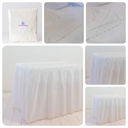 ORKIDEA - Faldón de mesa con tul, fabricado en Italia. Medidas: 74 x 420 cm (blanco)