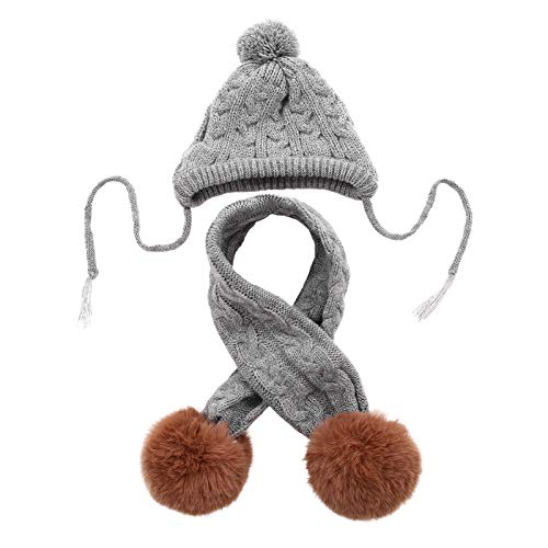 Kuoser Dog Hat & Scarf Set, Dog Knitted Hat Pet Christmas Winter Warm Caps Cute Accessories Neck Ear Warmer Hood Warm Scarf Party Decoration for Pet Cat and Dog fit for Small Medium Large Dogs Grey