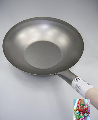 Wok / Asiatische Eisenpfanne / Küchen Wok Ø 35 cm flacher Boden + ein kleines Glückspüppchen - Holzpüppchen