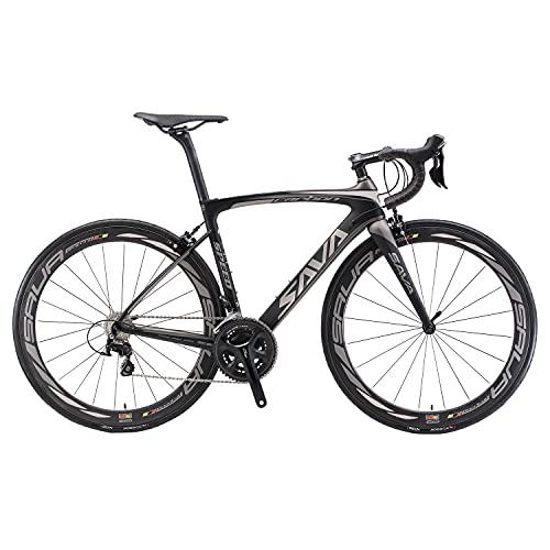 SAVADECK HERD6.0 700C Bicicleta de Carretera de Fibra de Carbono Shimano 105 R7000 22S Sistema de transmisión Michelin Neumático Fizi:k Sillín (Negro Gris, 54)