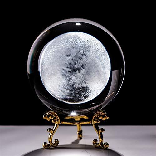 ACEACE 6cm Moon Globe Crafts Miniatura Bola de Cristal 3D Grabado Cuarzo Esfera de Vidrio Decoración del hogar Ornamentos de estatuilla Regalos (Color : with Golden Base, Size : 60mm)