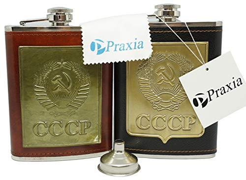 CCCP旧ソ連スキットルアウトドア8オンス220ml【ロゴ入り布袋/漏斗/グラス2個付属】Praxia