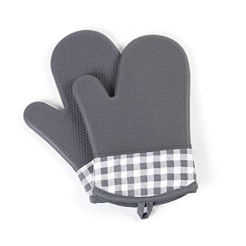 ミトン 耐熱 オーブン 手袋 シリコン グローブ 防水 滑り止め 耐熱温度300℃ 2枚セット キッチン用 バーベキュー 鍋敷き BBQ 焼く 鍋料理 サイズ28CM (グレー)