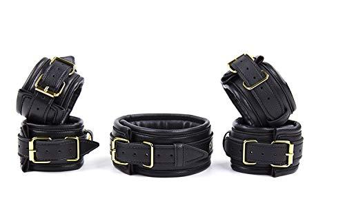 Bondage Set Leder Fesselset Handfesseln Fußfesseln Halsband gepolstert mit Führungsleine schwarz gold