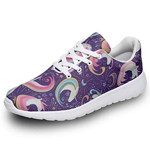 Wraill Herren Damen Laufschuhe Turnschuhe Hübsches Haar Einhorn Lila Gedruckt Sneakers Stilvoll Straßenlaufschuhe Wanderschuhe Laufen Schuhe Sportschuhe White 43