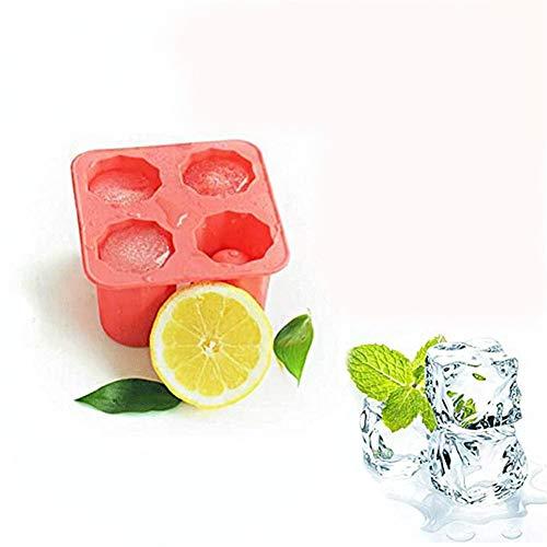 Stampo in silicone cubetti di ghiaccio, gelatina con 4 bicchieri in vetro for cioccolatini, for feste estive, eventi, da cucina (Color : Red, Size : 6pcs)
