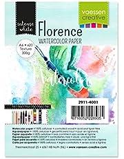 Vaessen Creative Florence Aquarelpapier A6, wit, 300 g/m² gestructureerd papier, 100 vellen voor aquarelschilderen, handbelettering en penseelletters