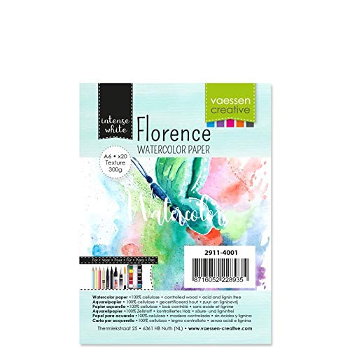 Vaessen Creative Florence Aquarellpapier A6, Weiß, 300 g/m² Strukturiertes Papier, 100 Blatt für Aquarellmalerei, Handlettering und Brush Lettering