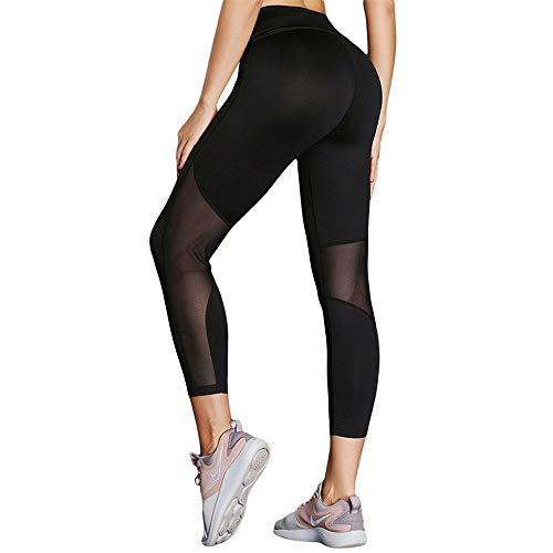JenLn Comfortabele vrouwen hoge taille hardlopen Yoga Leggings Casual Gym hardlopen joggingbroek met net stiksels sport hardlopen