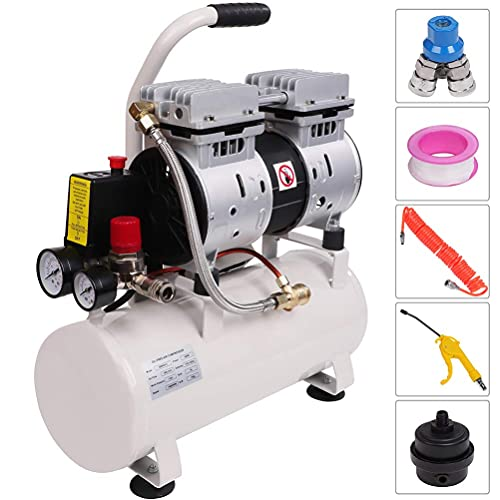 Homegreg 56 DB Silent 110V Portable Oil Free Air Compressor light weight with Blow Gun Kit, 0.8 HP, 2.4 Gallon, Low Maintenance Cost