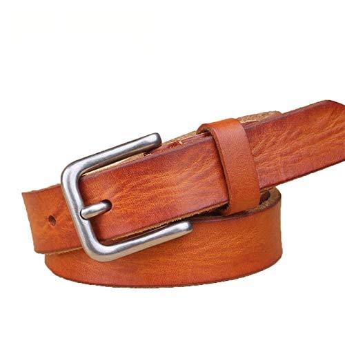 GTUQ Cinturón fino unisex de cuero para mujer, cinturón de metal, adecuado para pantalones casuales, vestido formal (longitud del cinturón: 100 cm, color: naranja)