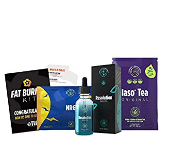 TLC Total Life Changes Fat Burner Kit -  1  Month Supply of NRG Dietary Supplement    1  Month Supply of Resolution Drops &  1  Month Supply of Original IASO Natural Herbal Detox Tea Bags