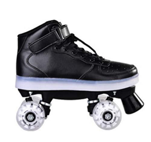Geteah Unisex In- und Outdoor Rollschuhe PU Leder High-top Rollschuhe Vierrad Rollschuhe Glänzend Rollschuhe für Jungen und Mädchen (Schwarz ohne Blitzrad, 8)