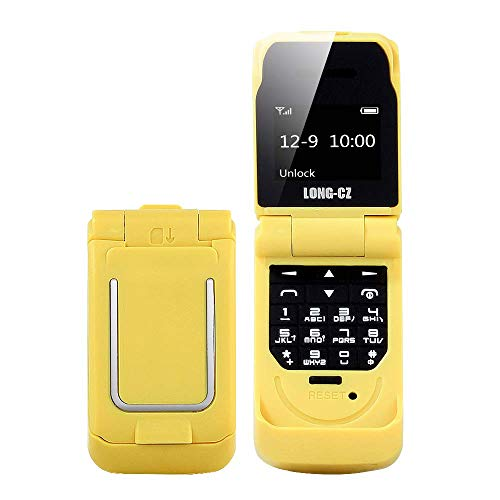 VINSOO Mini Flip Mobile Phone Long-CZ J9 Smallest Cell Phone Wireless Bluetooth Dialer FM Magic Voice Handsfree Earphone for Kids (Yellow)