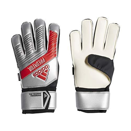 adidas Unisex Predator Top Training Fingersave Soccer Gloves, Silver Metallic/Black, 12 -  DY2608