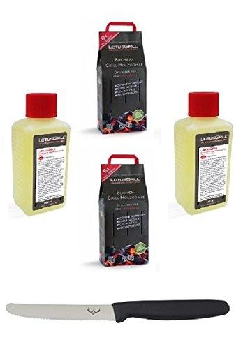 2x LotusGrill Buchenholzkohle 2,5 kg Sack und 2x LotusGrill Brennpaste 200 ml, beides entwickelt für raucharmes Grillen mit dem LotusGrill, inkl. Edelwild-Allzweckmesser