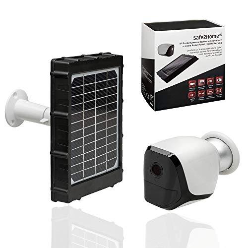Safe2Home® Solar Funk Überwachungskamera Full HD IP Kamera mit Nachtsicht - WLAN kabellos aussen - Solarkamera Indoor – CAM außen Bewegungssensor