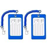 VALICLUD 2 Stück Gepäckanhänger Silikonetui Gepäcketiketten Kennzeichen Handtasche Visitenkarte Anhänger mit Elastischem Gurt für Rucksack Reisekoffer Blau