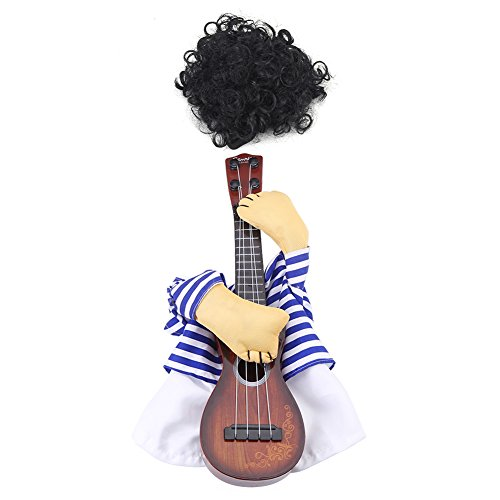 Ichiias Disfraz de Mascota Guitarrista Vestido de Cachorro Fiesta de Navidad de Halloween con Peluca(M)