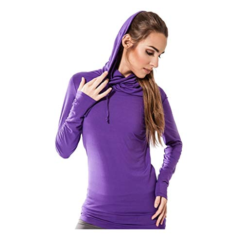 Sternitz Donne Fitness Camicia, con Cappuccio Bhakti, Ideale per Pilates, Yoga e Qualsiasi Sport, Tessuto di bambù, Ecologico e Morbido. Collo Lungo. (Medium, Viola)