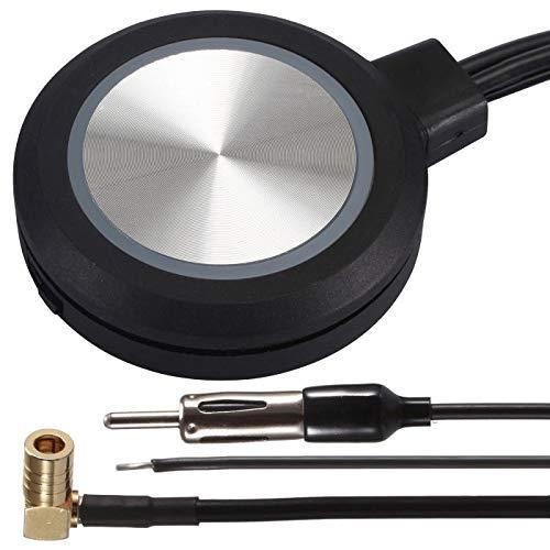 DAB+ FM/AM Aktiv Scheibenantenne Klebeantenne Verstärker Antenne mit 5 Meter Antennenkabel und SMB Stecker Adapter für DAB Radio Autoradio KFZ LKW